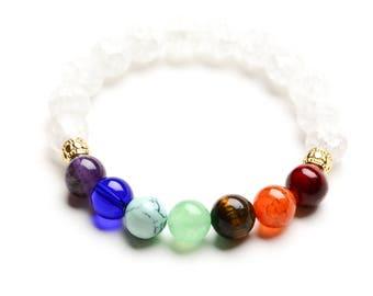 7 CHAKRA BEADED BRACELET - 10mm Healing Gemstones  - Yoga - Spiritual Jewelry