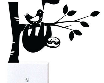 Sloth And Bird - wall decal, light switch decal, wall decor