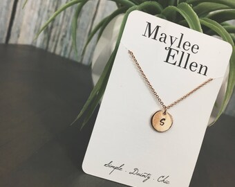 Rose Gold Personalized Pendant Necklace, Rose Gold Circle Pendant Dainty Necklace, Rose Gold Necklace, Rose Gold Pendant Dainty Chain