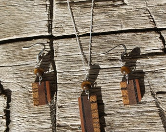 Wooden Earring & Necklace Set Handmade Jewelry Wooden Tiger's Eye Minimalist Natural Jewelry Wooden Gift for Her Valentine's Day Gift