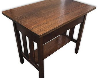 Captivating Antique Mission Oak Arts And Crafts Hall Side Table