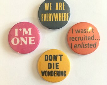 Set of 4 Vintage Remake Lesbian Badges