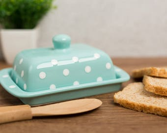 City to Cottage Teal Blue And White Polka Dot Hand Painted Ceramic Butter Dish With Lid