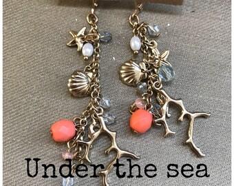 Under the sea dangle earrings, gold dangle earrings, fun and unique earrings