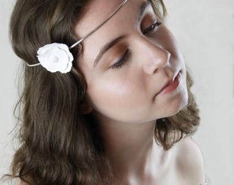 Bridal Headband Hallmarked Sterling Silver and Porcelain Flower Circlet. Vintage, Boho Style.
