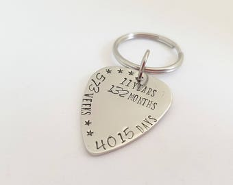 11TH Anniversary Keyring, Traditional Steel Wedding Gift, Personalized Anniversary Keychain, Personalised Initial Keyring, Couples Keyring