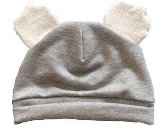 Koala Baby Beanie Gre Whit fabric size baby to toddler. Modern baby gift.