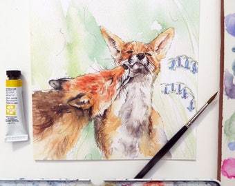 Fox Blank Greeting Card - Foxes in Love