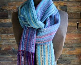 Hand Dyed Handwoven Silk Stripe Scarf Art to Wear