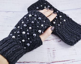 Womens fingerless gloves Knit gloves Winter gloves Wool arm warmers knit Christmas gift for mom Knit arm warmers black Gift for girlfriend