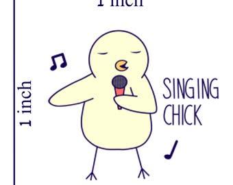 Three Singing Chick Stickers