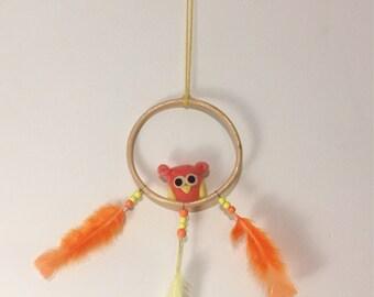 Coral-Orange Owl Mobile