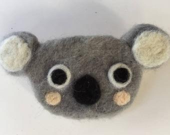 Koala Lapel Pin, Cute Animal Brooch, Needle Felt, Australian Animal