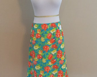 Late 1960s -Early 1970s Lilly Pulitzer A-Line Floral Skirt