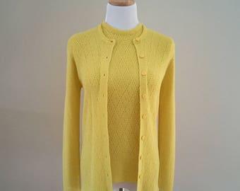1970's Vintage Lemon Yellow Twin Set/Hooper