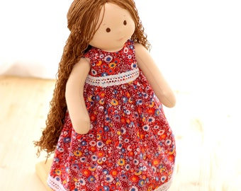 Waldorf Doll Curly Hair Doll With brown Hair nature doll Soft Ragdoll Shteiner Doll With Long Hair 18 Inch Doll Nature toy Waldorfsky Doll