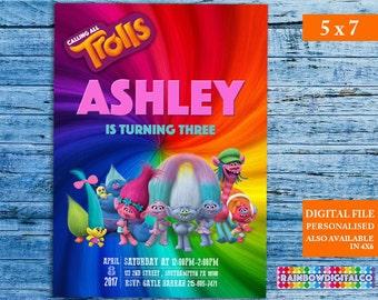 Trolls Invitation, Trolls Birthday, Trolls Birthday Invitation, Trolls Party, Trolls Invites, Trolls Printable, Trolls