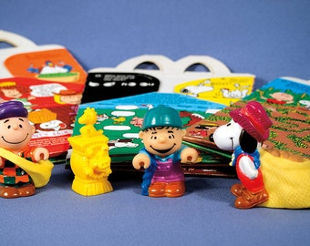 1980s Peanuts Happy Meal figures and boxes from McDonald's