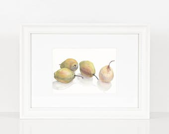 Original still life with green and creamy pears on white background / Watercolor painting / Watercolour painting / Fruit / Wall decor / Gift