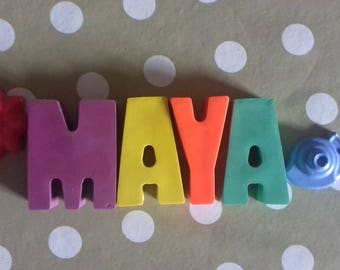 Letter crayons, birthday present, personalised gifts.