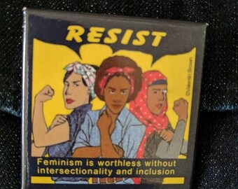 Multi-cultural Rosie the Riveter RESIST button