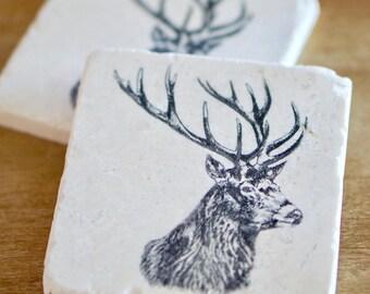 Rustic Marble Coasters/ Deer Coaster/ Marble Coasters/ Hunting Coasters/ Farmhouse Coasters/ Stone Coasters/ Tile Coasters/ Drink Coasters