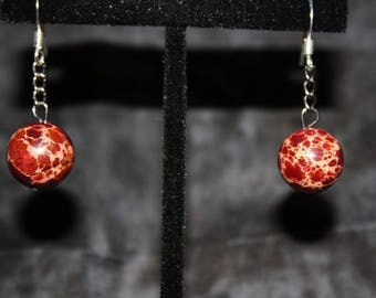 Large Red Spotted Agate Drop Earrings