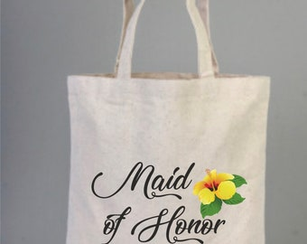 Maid of Honor, Maid of Honor Tote Bag, Maid of Honor Gift, Monogram Tote Bag, Floral Wedding Tote Bag, Bridal Party Gift, Personalized Tote