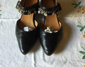 Vintage Leather Mary Jane Heels