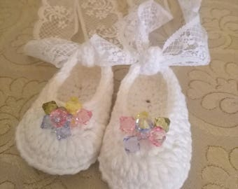 Crochet Newborn Ballet Slippers, Baby Girl Shoes,  Baby Booties, Baby Ballet Shoes, Newborn shoes