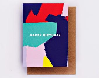 Happy Birthday Bright Painterly Card, Birthday Card, Fashion Stationery, Fashion Card, Pink, Fashion Gift, Bday Card, Cool Card, Brushstroke