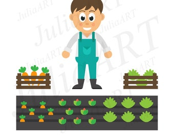 cartoon man with vegetables and garden
