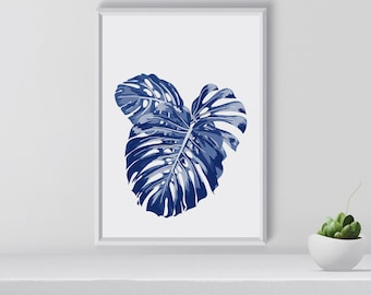 Navy blue tropical wall art, Tropical Print, Plants, Gift for her, home decor