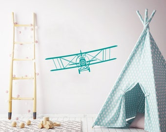 Airplane Wall Decal Nursery. Biplane Nursery Wall Decal. Plane  Wall Vinyl Sticker Nursery Wall Decor Kids Wall Decals for Boys Children F51