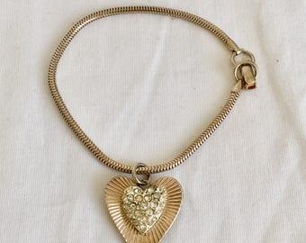 Coro Rhinestone Heart Charm Bracelet, Clear Rhinestones, Gold Tone, Pegasus Mark, Vintage, 1940s