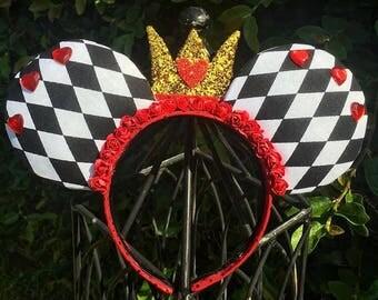 Queen of Hearts (Red Queen) Alice in Wonderland Disney Ears