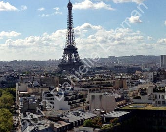 Eiffel Tower - View from Arc De Triomphe - Digital Photography - Digital Download