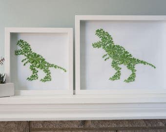 T-Rex - Unique Framed Dinosaur Paper Art for Home Decor! Perfect for a Baby Shower, Children's Bedroom, or Anywhere! By DinoCat Studio