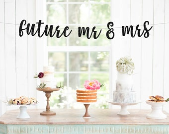 Engagement banner etsy future mr mrs banner glitter wedding banner engagement photo banner engagement party pronofoot35fo Images