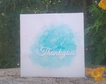 Thank You Card, Elegant Card of Special Thanks For Any Occasion, Calligraphy Thanks Cutout Word, Shimmer Paint Watercolor Art, Original Art