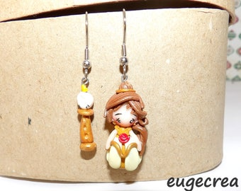 Princess Belle and light with polymer clay earrings