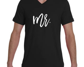 "Groom ""Mr."" V Neck Tee Black Grey Navy"