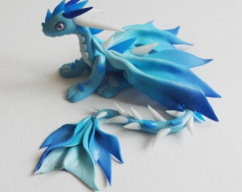 Blue clay fimo polymer clay dragon sculpture