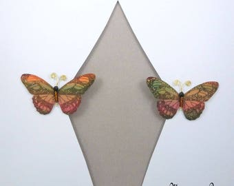 Curtain sheers silk autumn Butterfly clips ref 1506