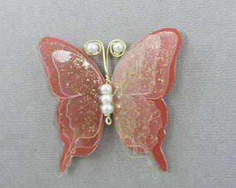 Butterfly magnets 5.5 cm silk and transparent - multiple colors