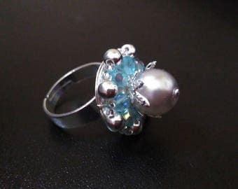Blue and silver fancy ring Pearl