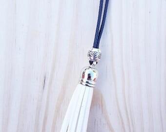 Long white tassel necklace