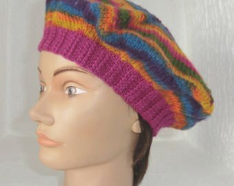 Fancy star beret - Handknitted - wool - women and teens - Fuchsia color and multicolor - size S / M - single model