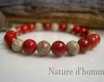 Bracelet red coral and fossil coral stones Ref: BN-123