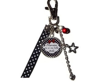 """Keyring - GODMOTHER gift bag charm""""Godmother you are my stars""""/personnalisable"""